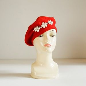 Bright Red Wool  Floral Beaded French Style Beret